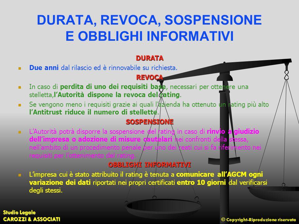 DURATA, REVOCA, SOSPENSIONE E OBBLIGHI INFORMATIVI