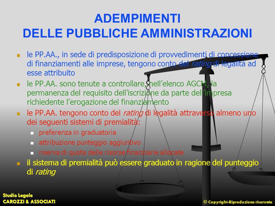ADEMPIMENTI DELLE PUBBLICHE AMMINISTRAZIONI