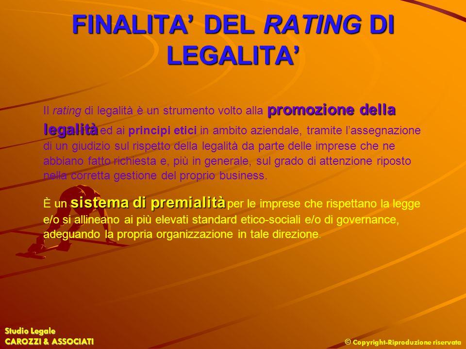 FINALITA' DEL RATING DI LEGALITA'