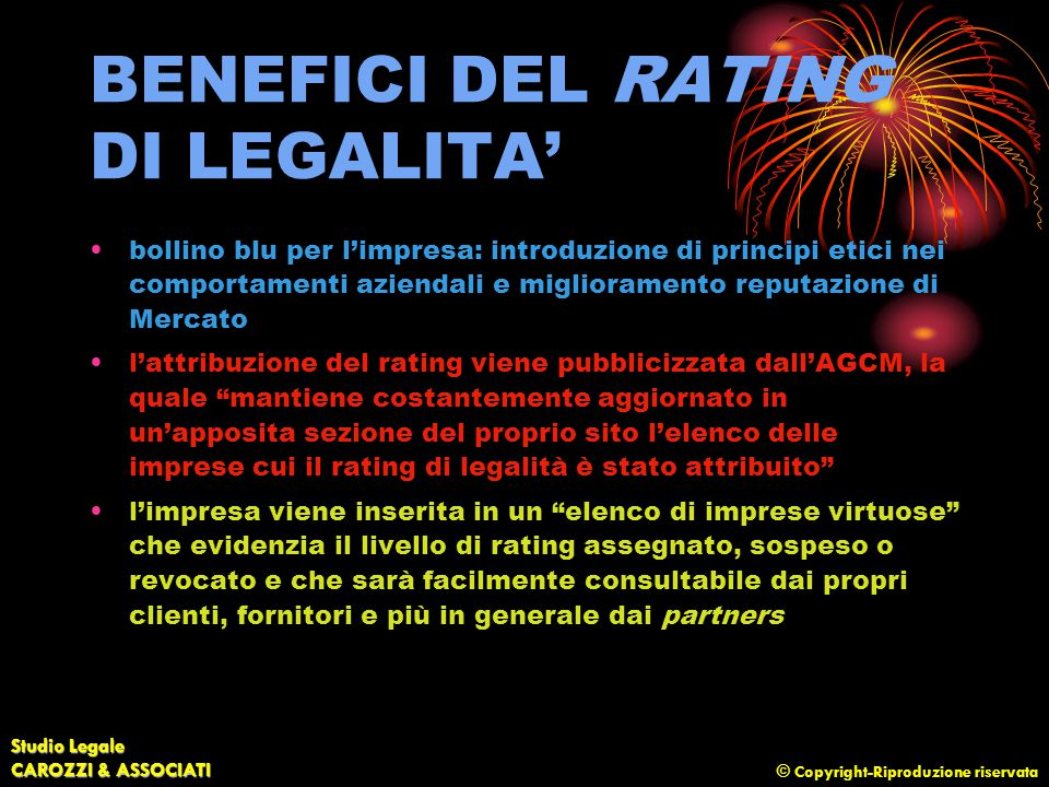 BENEFICI DEL RATING DI LEGALITA'