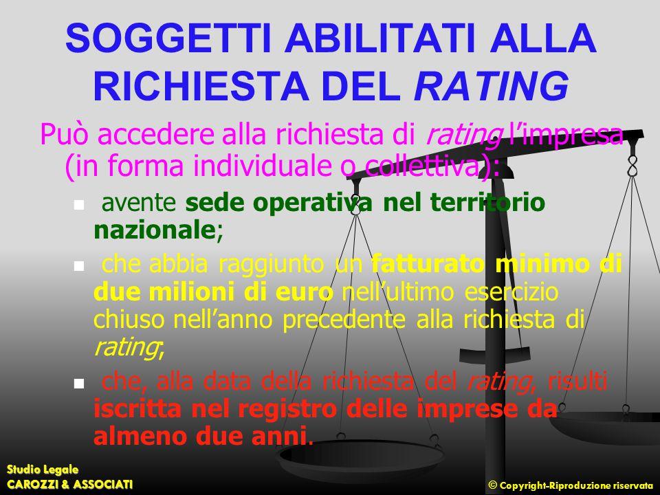 SOGGETTI ABILITATI ALLA RICHIESTA DEL RATING