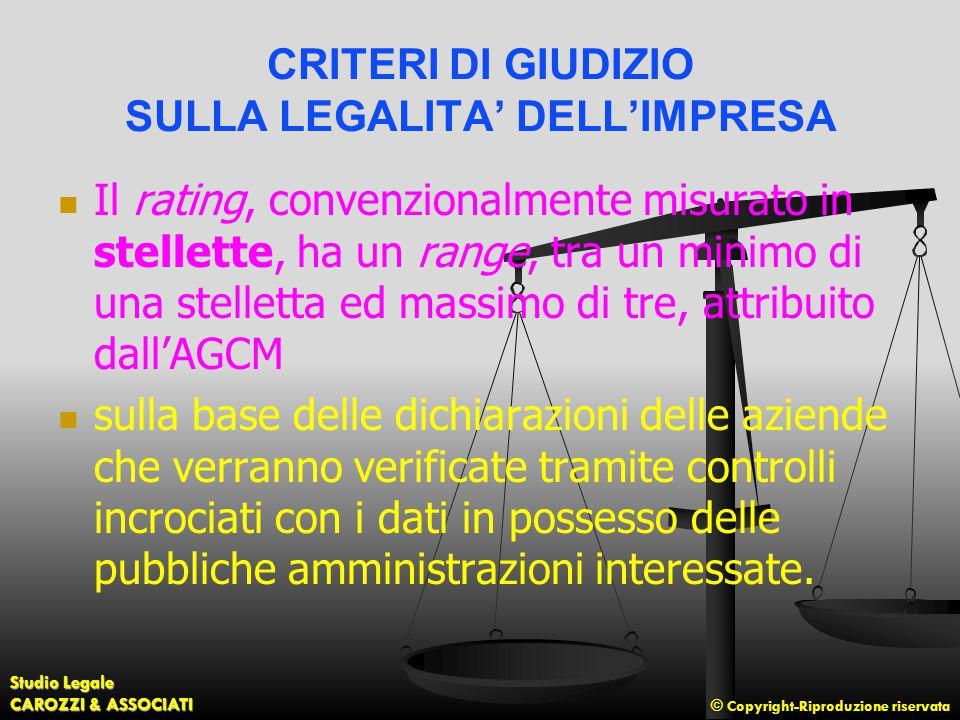 CRITERI DI GIUDIZIO SULLA LEGALITA' DELL'IMPRESA