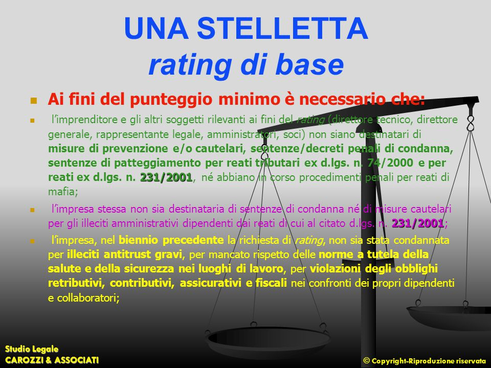 UNA STELLETTA rating di base