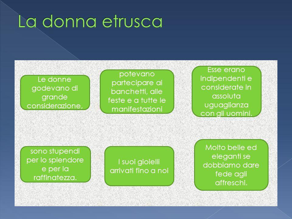 La donna etrusca Esse erano indipendenti e considerate in assoluta uguaglianza con gli uomini.