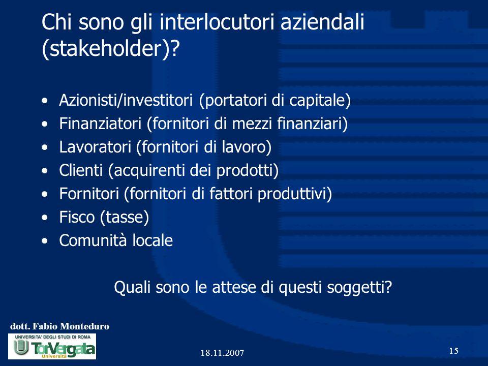 Chi sono gli interlocutori aziendali (stakeholder)