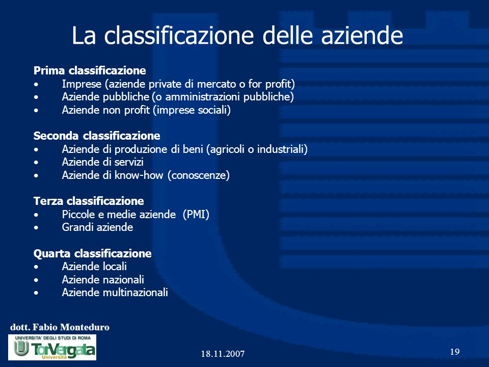 La classificazione delle aziende