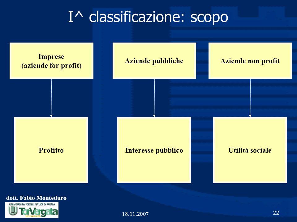 I^ classificazione: scopo