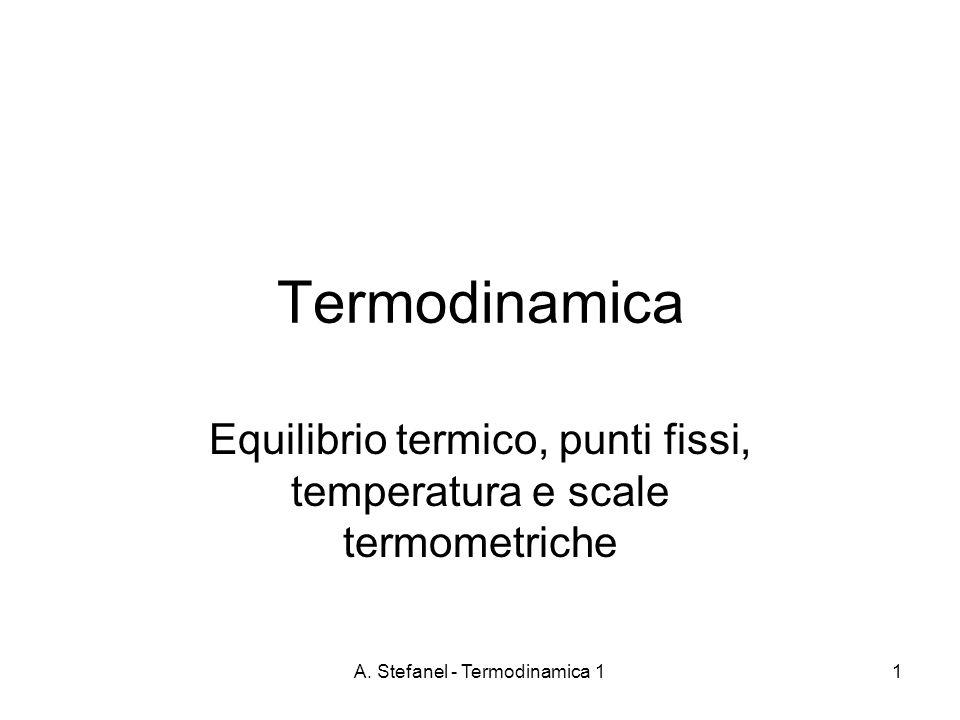 Equilibrio termico, punti fissi, temperatura e scale termometriche