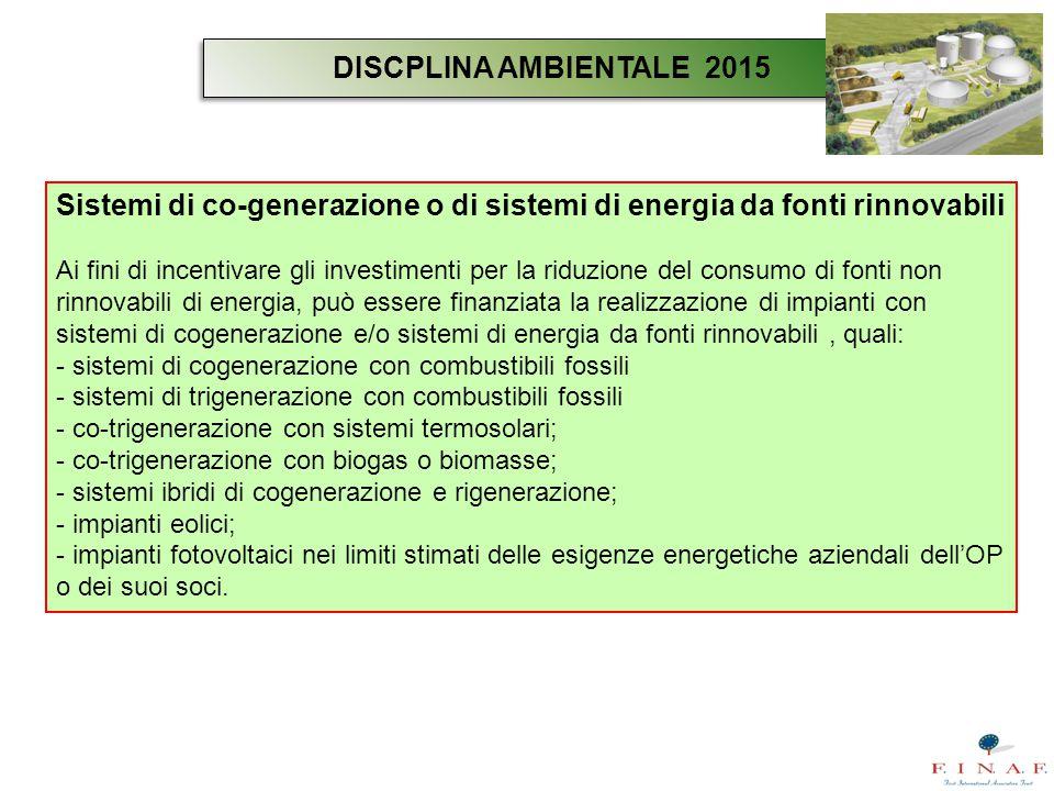 Sistemi di co-generazione o di sistemi di energia da fonti rinnovabili