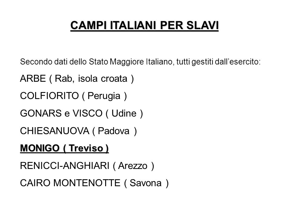 CAMPI ITALIANI PER SLAVI