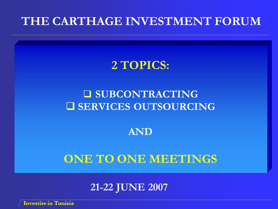 THE CARTHAGE INVESTMENT FORUM