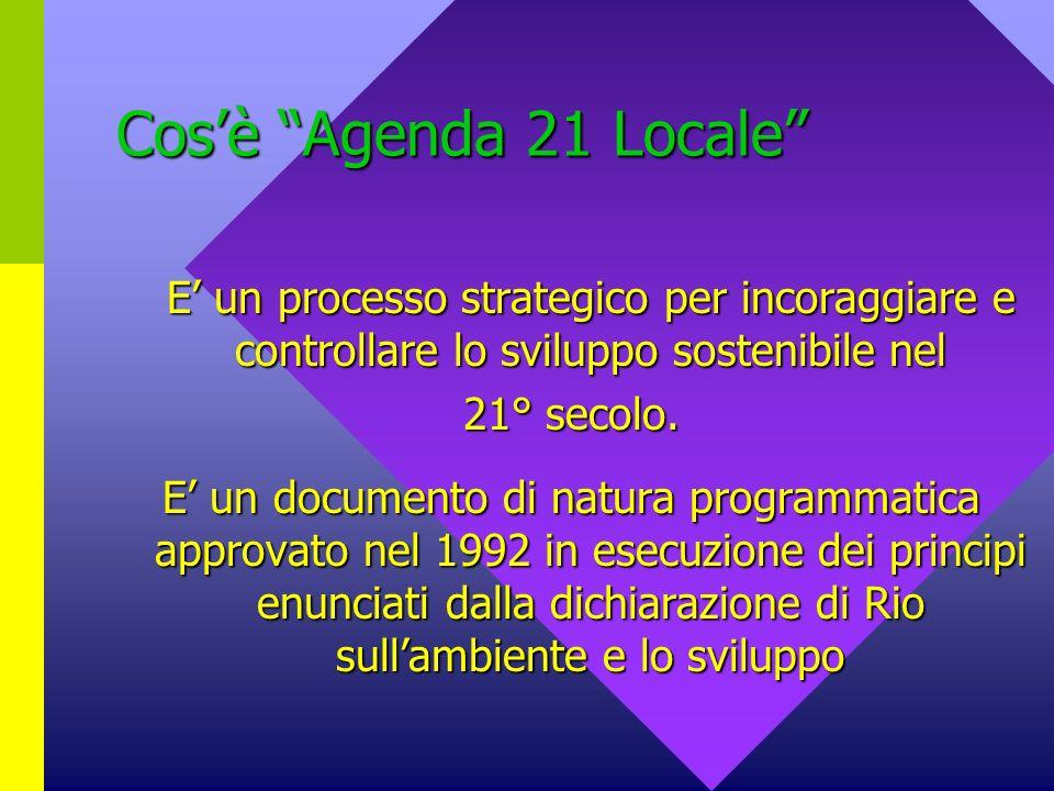 Cos'è Agenda 21 Locale E' un processo strategico per incoraggiare e controllare lo sviluppo sostenibile nel.