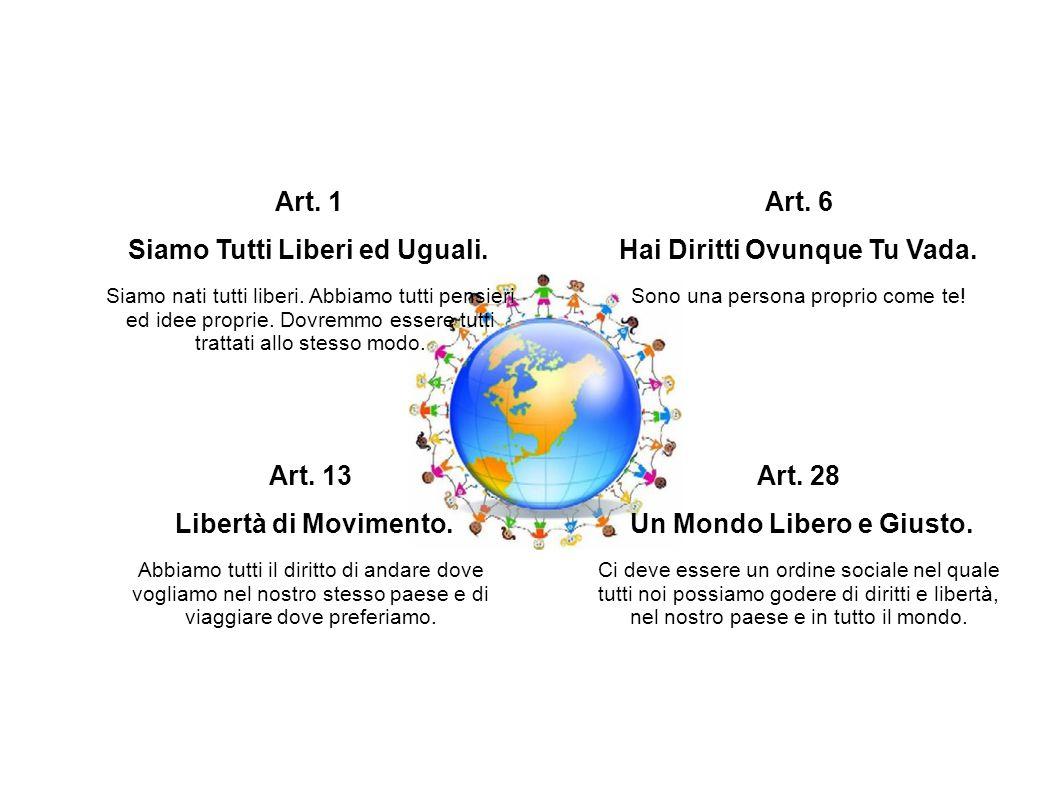 Siamo Tutti Liberi ed Uguali. Art. 6 Hai Diritti Ovunque Tu Vada.
