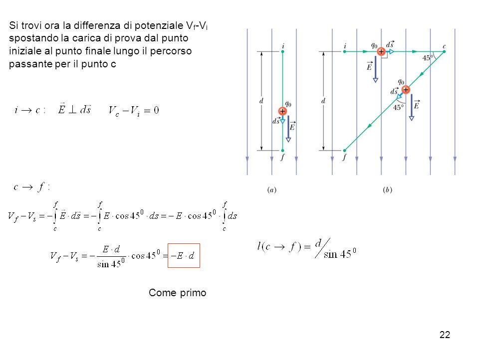 Si trovi ora la differenza di potenziale Vf-Vi spostando la carica di prova dal punto iniziale al punto finale lungo il percorso passante per il punto c