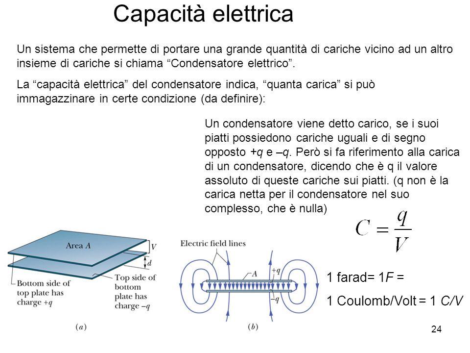 Capacità elettrica 1 farad= 1F = 1 Coulomb/Volt = 1 C/V