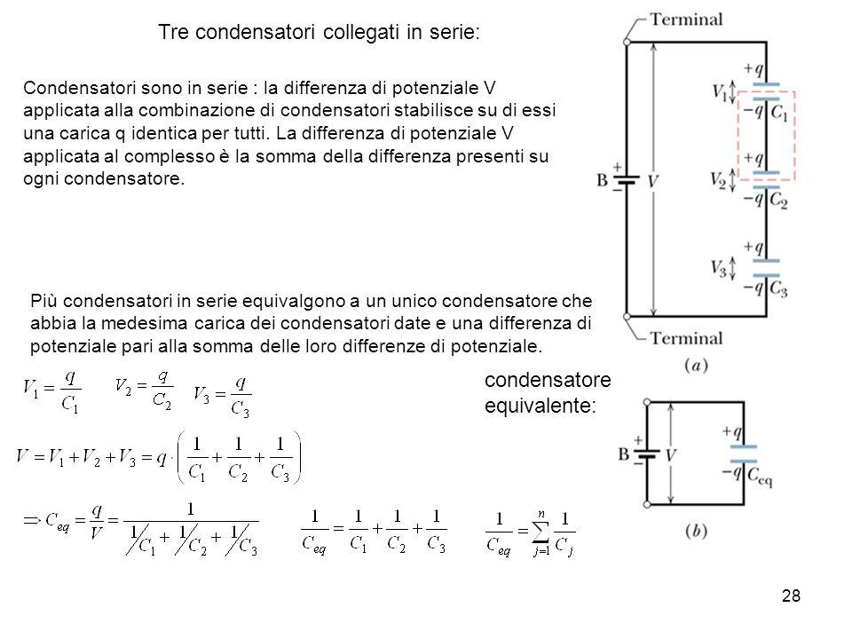 Tre condensatori collegati in serie: