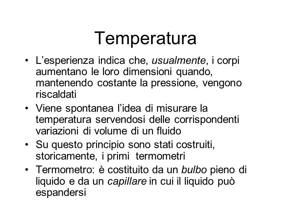 Temperatura L'esperienza indica che, usualmente, i corpi aumentano le loro dimensioni quando, mantenendo costante la pressione, vengono riscaldati.