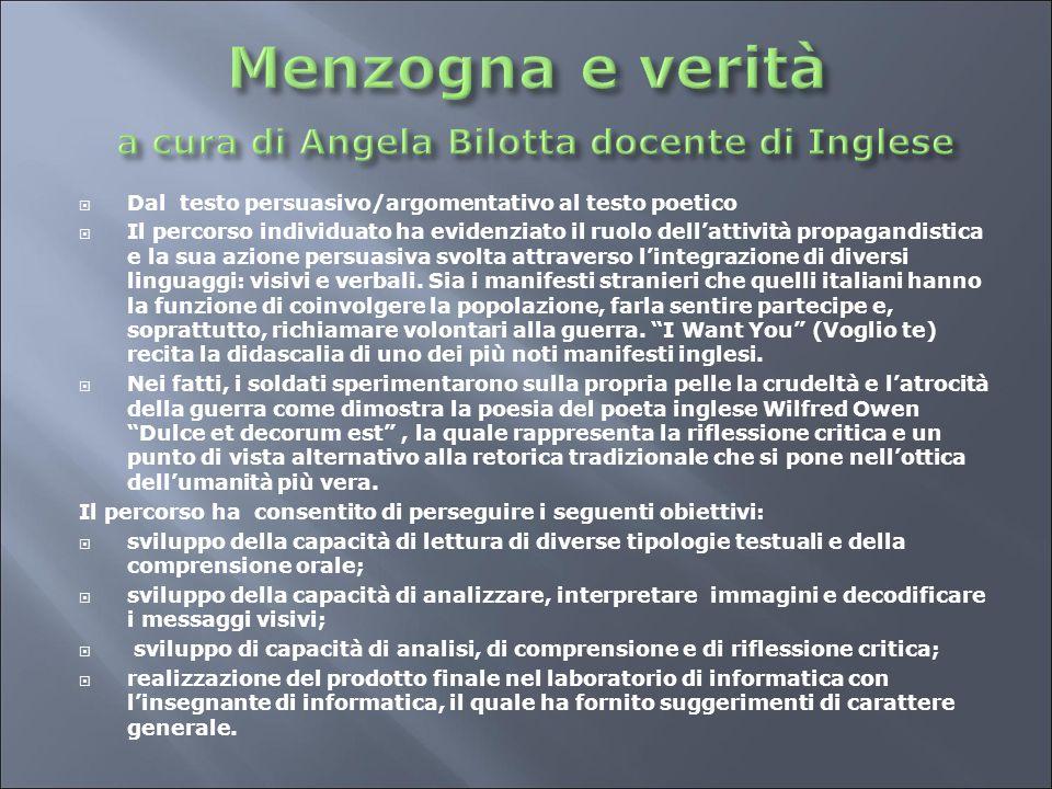 Menzogna e verità a cura di Angela Bilotta docente di Inglese