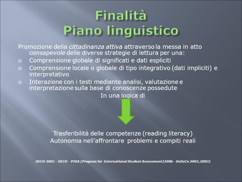 Finalità Piano linguistico