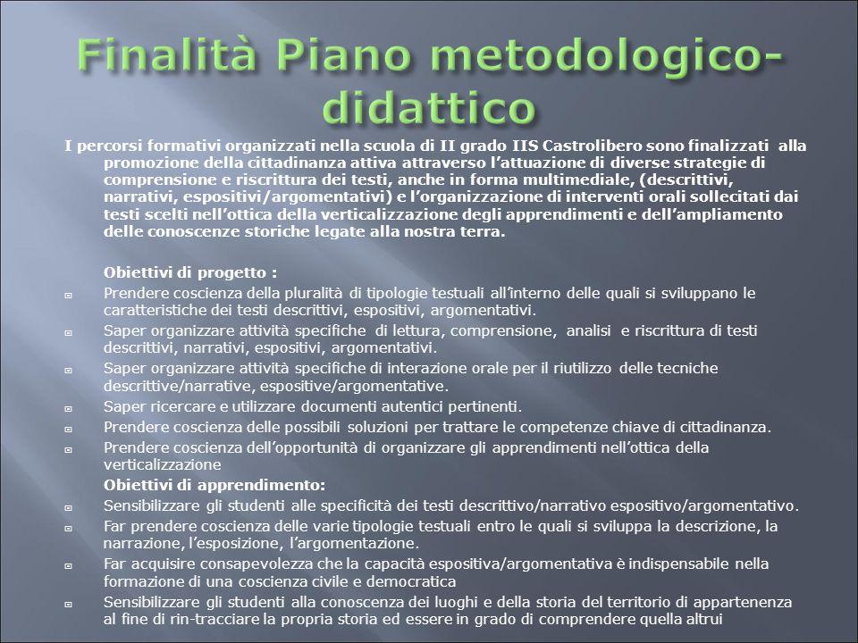 Finalità Piano metodologico-didattico