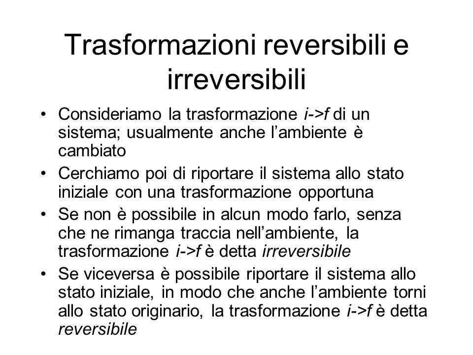 Trasformazioni reversibili e irreversibili