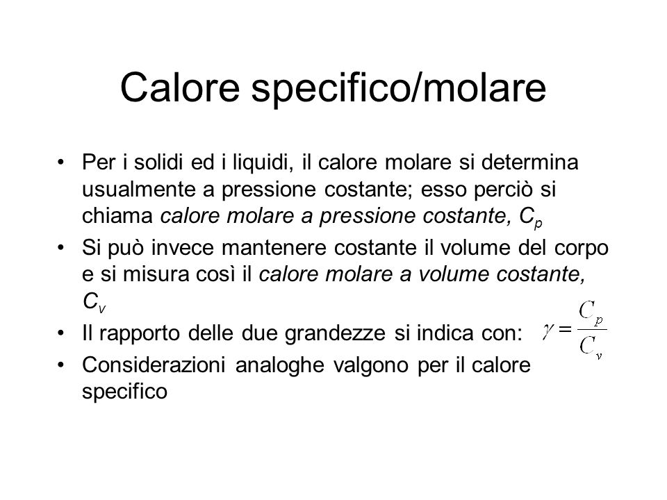 Calore specifico/molare