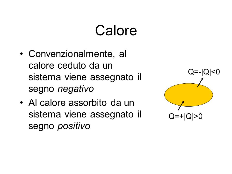 Calore Convenzionalmente, al calore ceduto da un sistema viene assegnato il segno negativo.