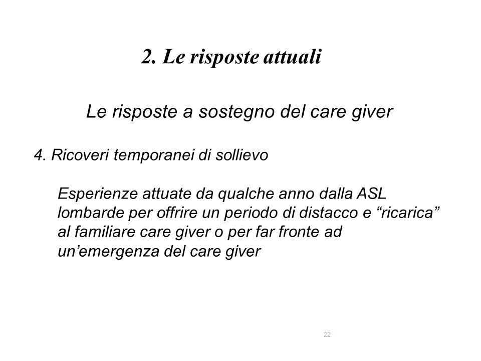 Le risposte a sostegno del care giver