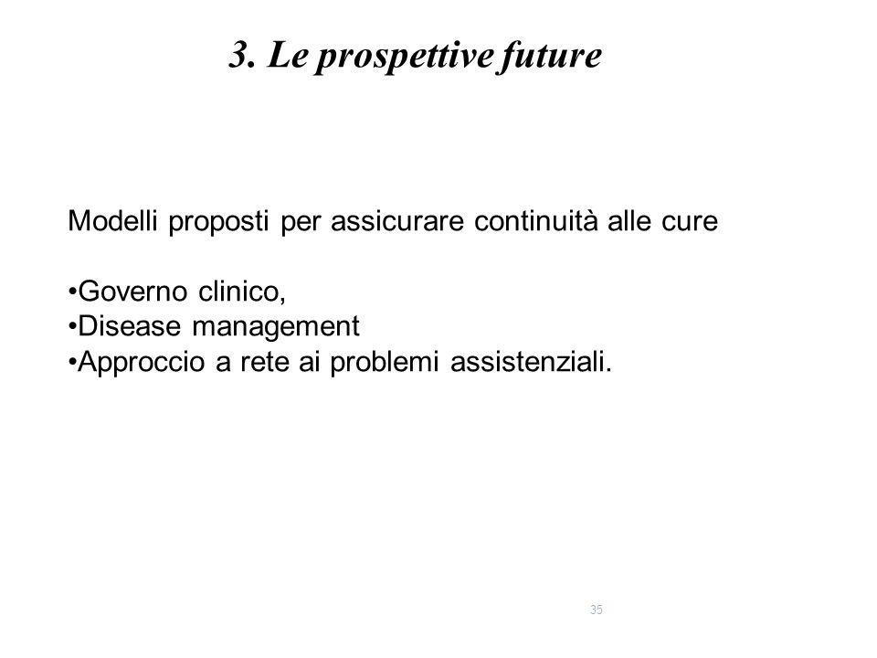 3. Le prospettive future Modelli proposti per assicurare continuità alle cure. Governo clinico, Disease management.