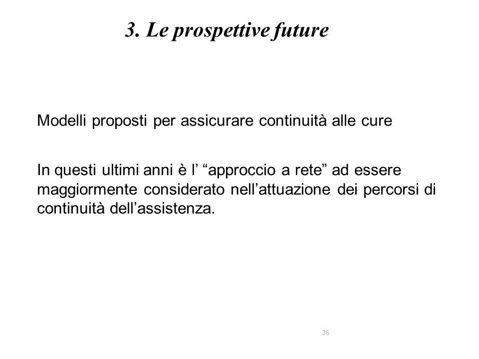 3. Le prospettive future Modelli proposti per assicurare continuità alle cure.