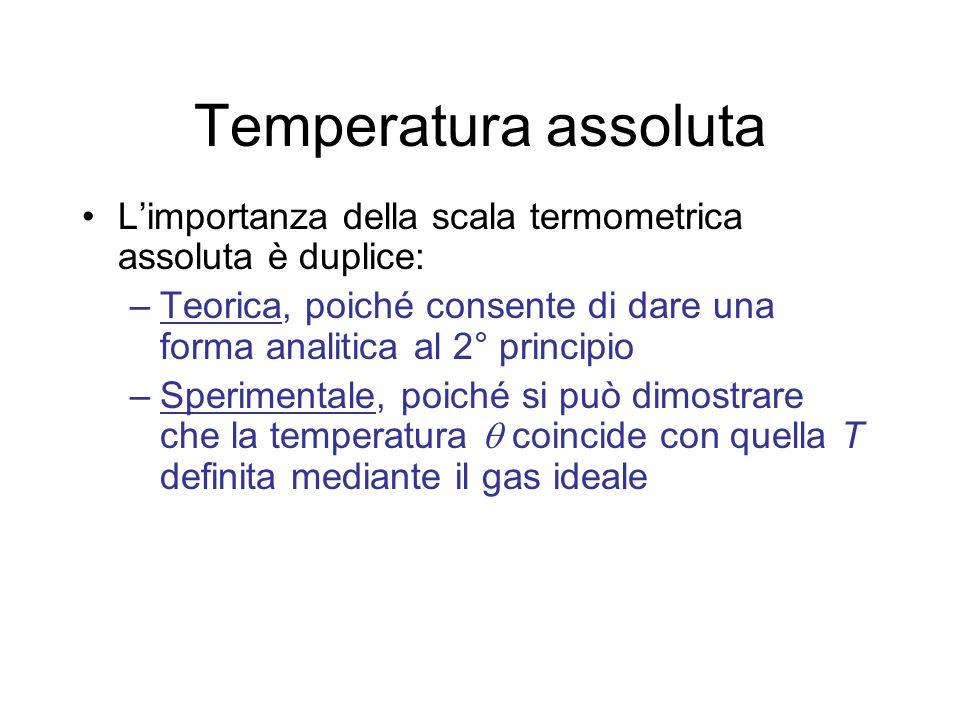 Temperatura assoluta L'importanza della scala termometrica assoluta è duplice: Teorica, poiché consente di dare una forma analitica al 2° principio.