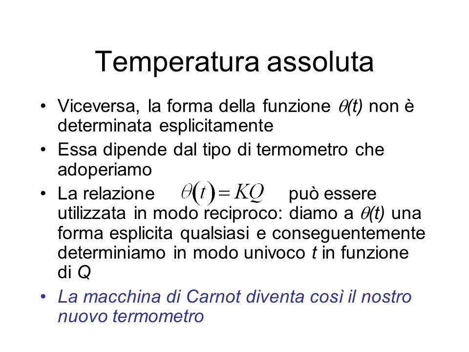 Temperatura assoluta Viceversa, la forma della funzione (t) non è determinata esplicitamente. Essa dipende dal tipo di termometro che adoperiamo.
