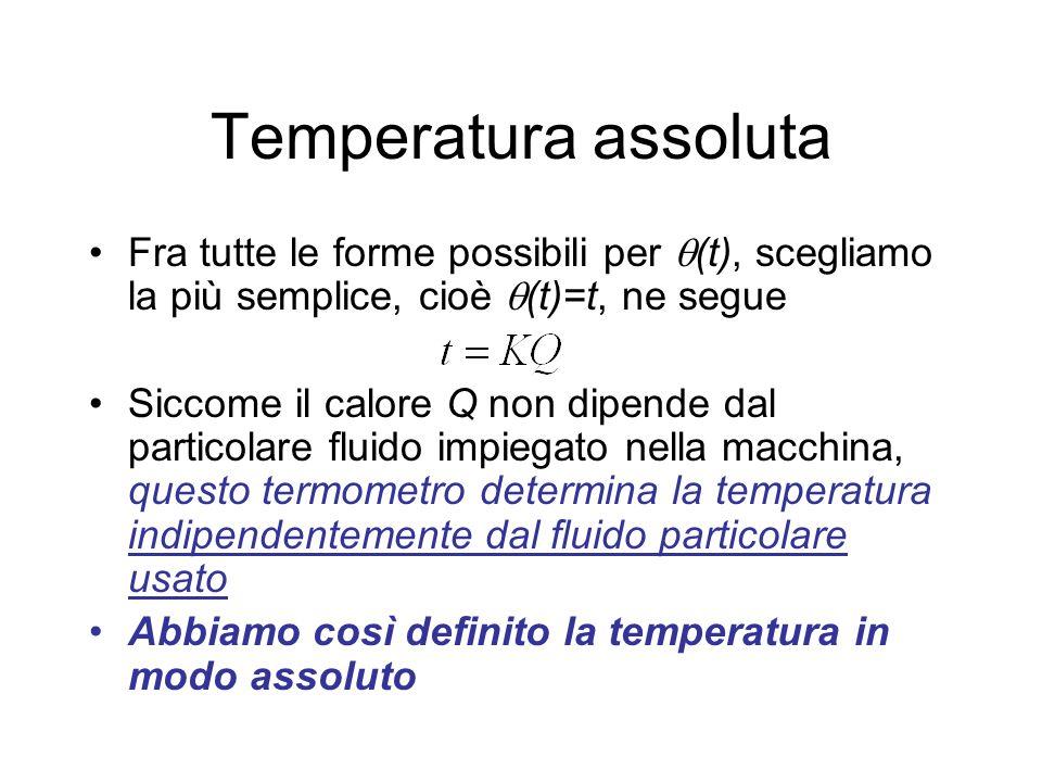 Temperatura assoluta Fra tutte le forme possibili per (t), scegliamo la più semplice, cioè (t)=t, ne segue.