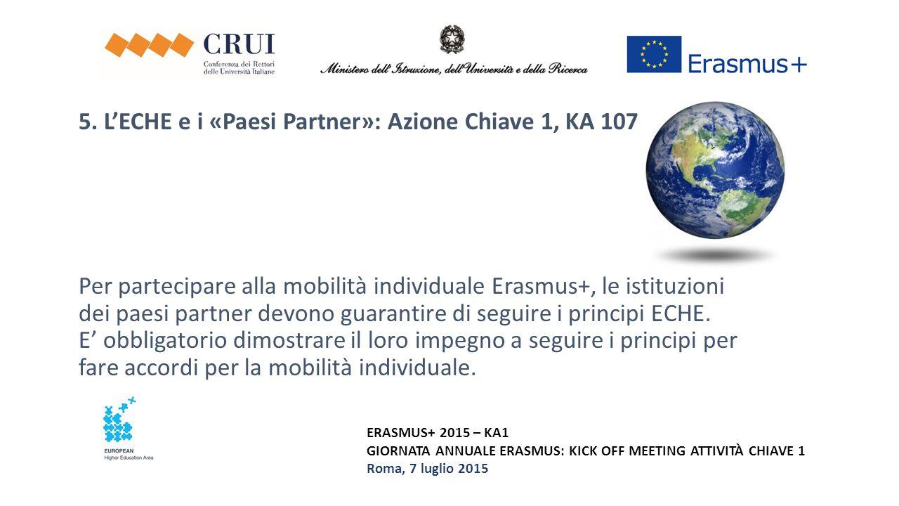 5. L'ECHE e i «Paesi Partner»: Azione Chiave 1, KA 107 Per partecipare alla mobilità individuale Erasmus+, le istituzioni dei paesi partner devono guarantire di seguire i principi ECHE. E' obbligatorio dimostrare il loro impegno a seguire i principi per fare accordi per la mobilità individuale.