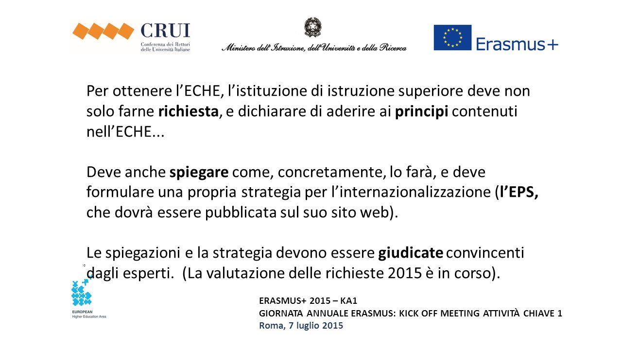 Per ottenere l'ECHE, l'istituzione di istruzione superiore deve non solo farne richiesta, e dichiarare di aderire ai principi contenuti nell'ECHE... Deve anche spiegare come, concretamente, lo farà, e deve formulare una propria strategia per l'internazionalizzazione (l'EPS, che dovrà essere pubblicata sul suo sito web). Le spiegazioni e la strategia devono essere giudicate convincenti dagli esperti. (La valutazione delle richieste 2015 è in corso).