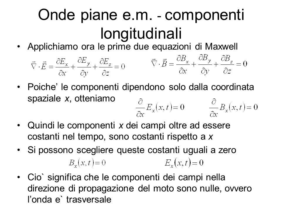 Onde piane e.m. - componenti longitudinali
