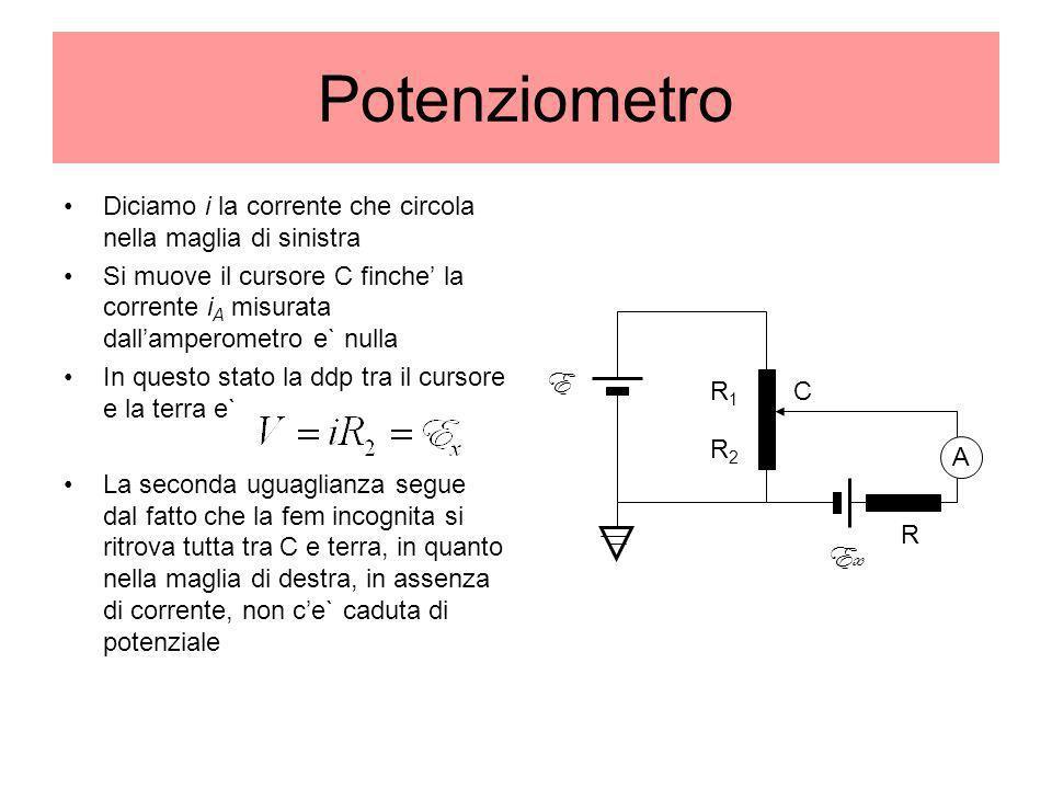Potenziometro Diciamo i la corrente che circola nella maglia di sinistra.