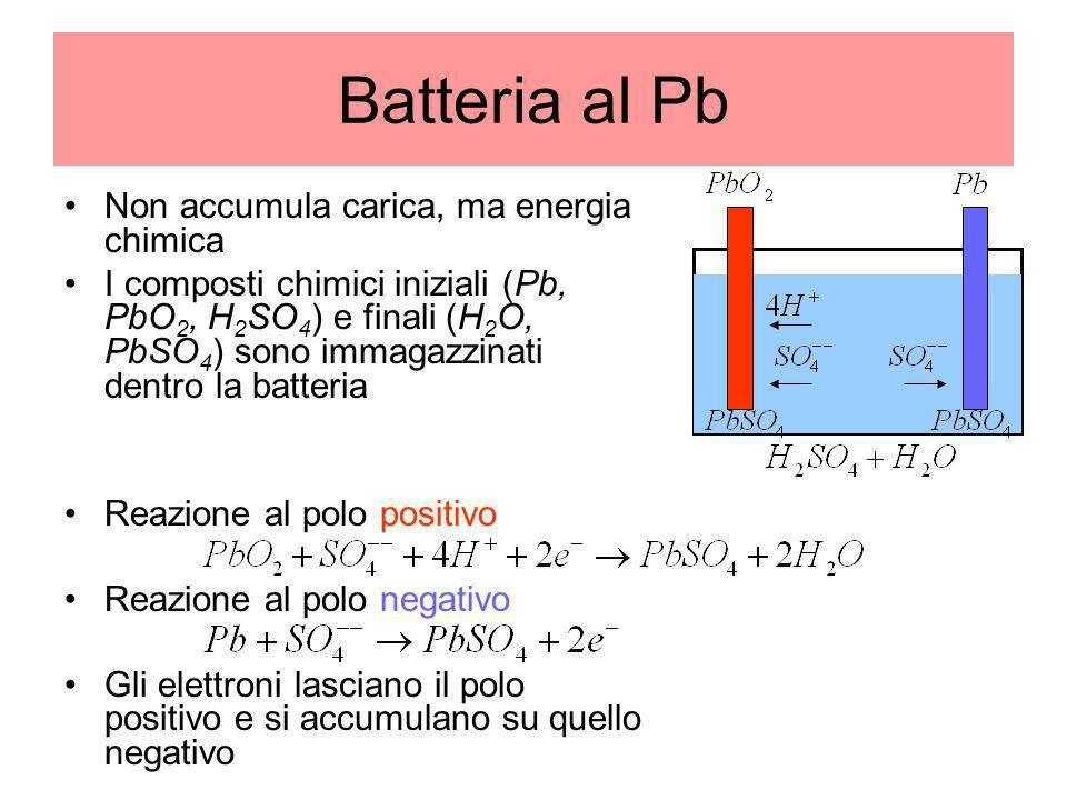 Batteria al Pb Non accumula carica, ma energia chimica