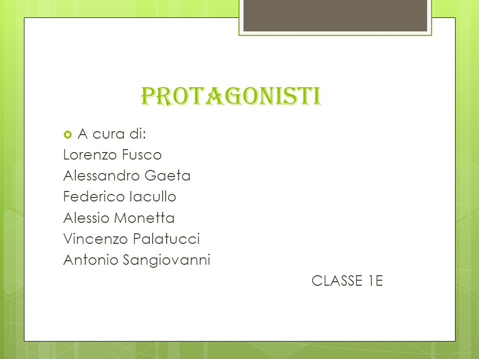 PROTAGONISTI A cura di: Lorenzo Fusco Alessandro Gaeta