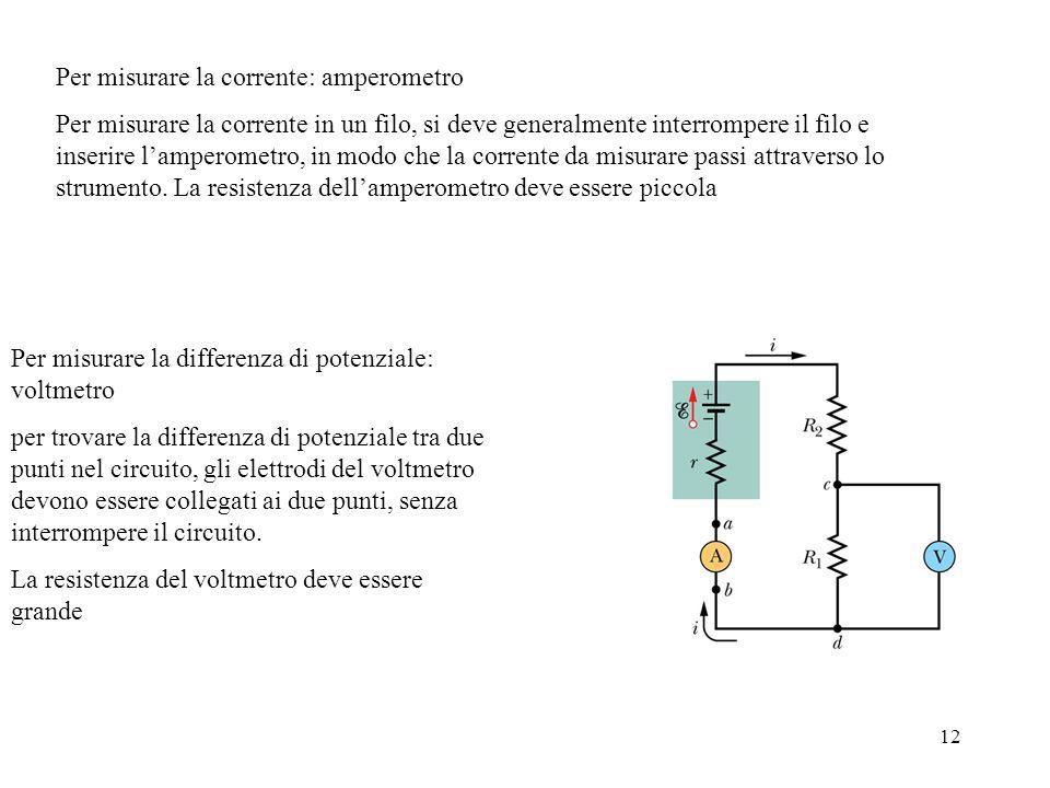 Per misurare la corrente: amperometro