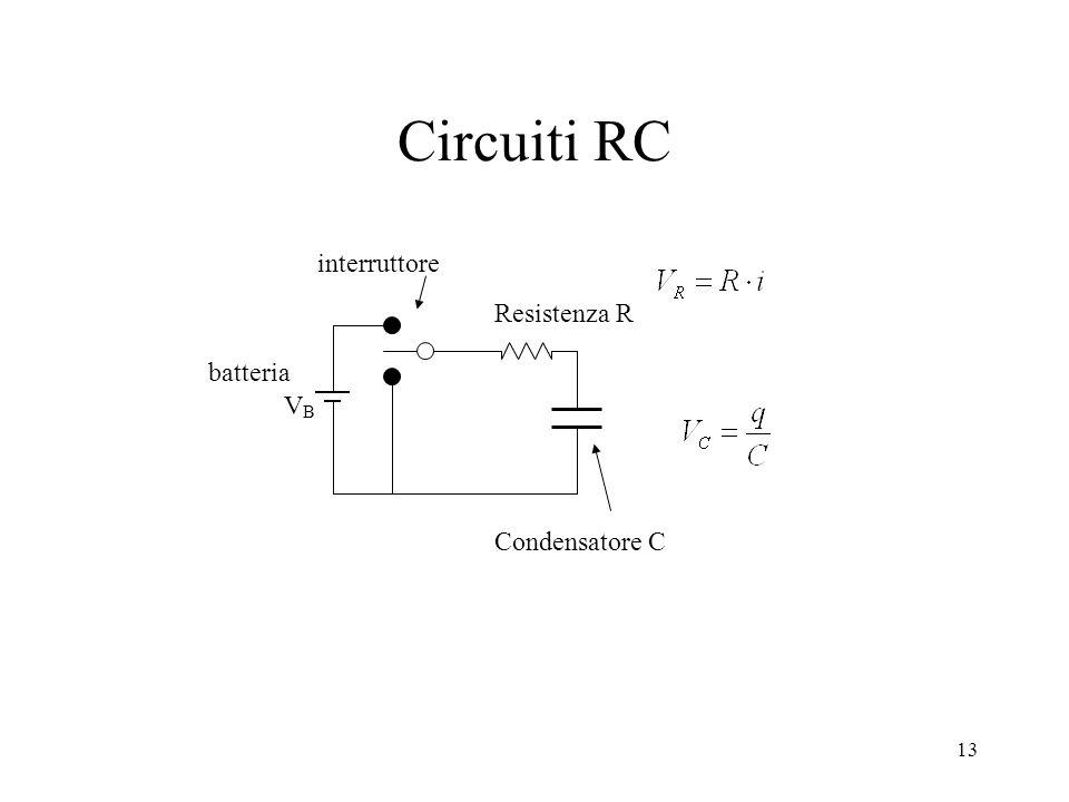 Circuiti RC interruttore VB Resistenza R batteria Condensatore C