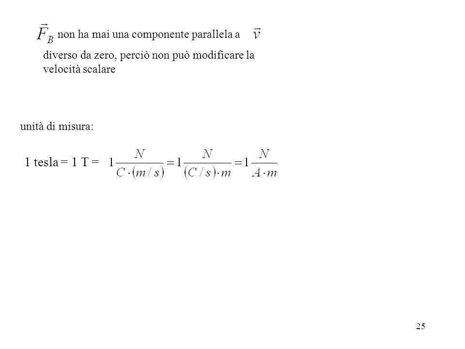 1 tesla = 1 T = non ha mai una componente parallela a