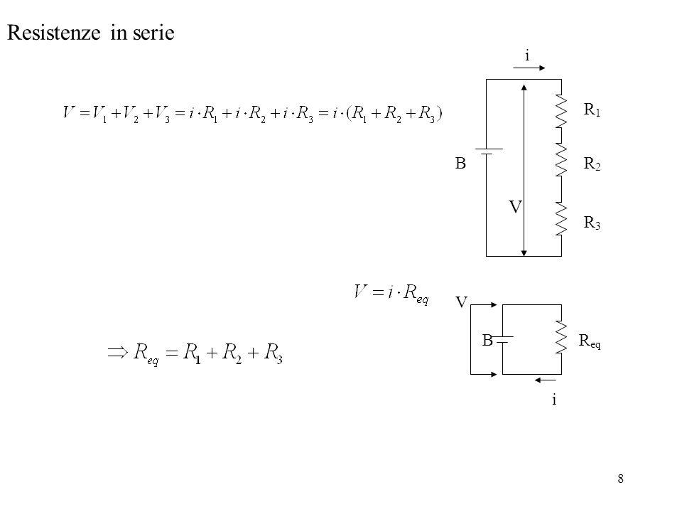 Resistenze in serie i B R1 R2 R3 V Req B V i