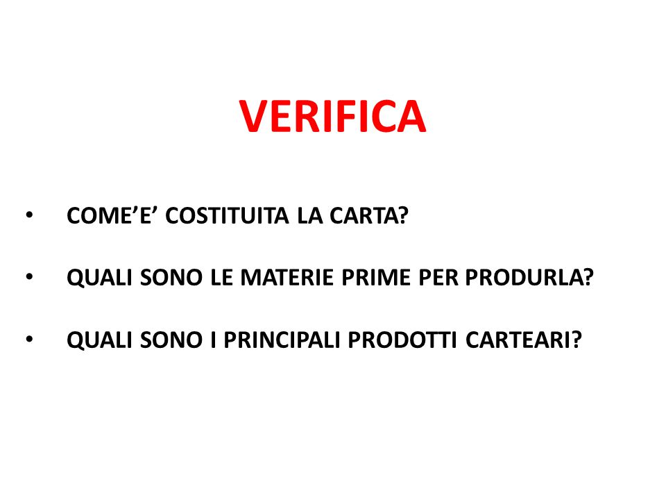 VERIFICA COME'E' COSTITUITA LA CARTA