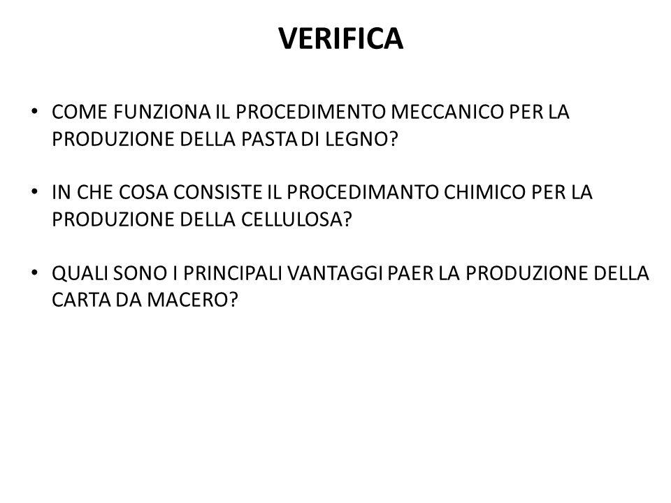 VERIFICA COME FUNZIONA IL PROCEDIMENTO MECCANICO PER LA PRODUZIONE DELLA PASTA DI LEGNO