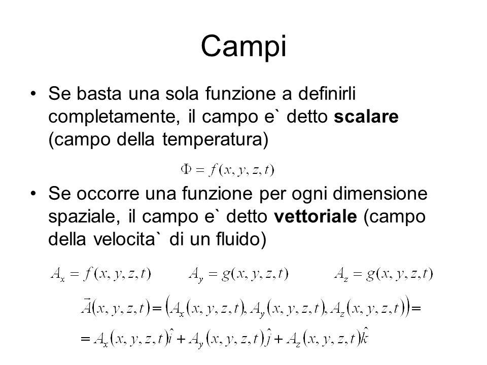 Campi Se basta una sola funzione a definirli completamente, il campo e` detto scalare (campo della temperatura)