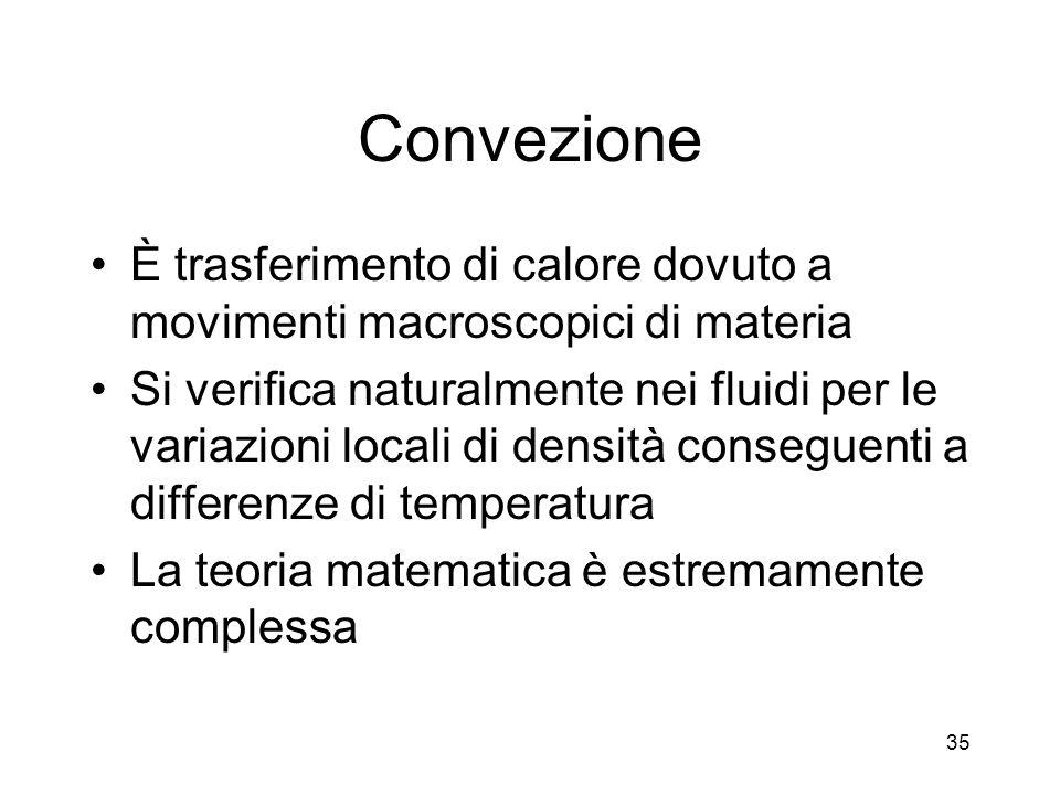 Convezione È trasferimento di calore dovuto a movimenti macroscopici di materia.
