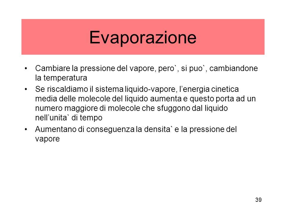Evaporazione Cambiare la pressione del vapore, pero`, si puo`, cambiandone la temperatura.