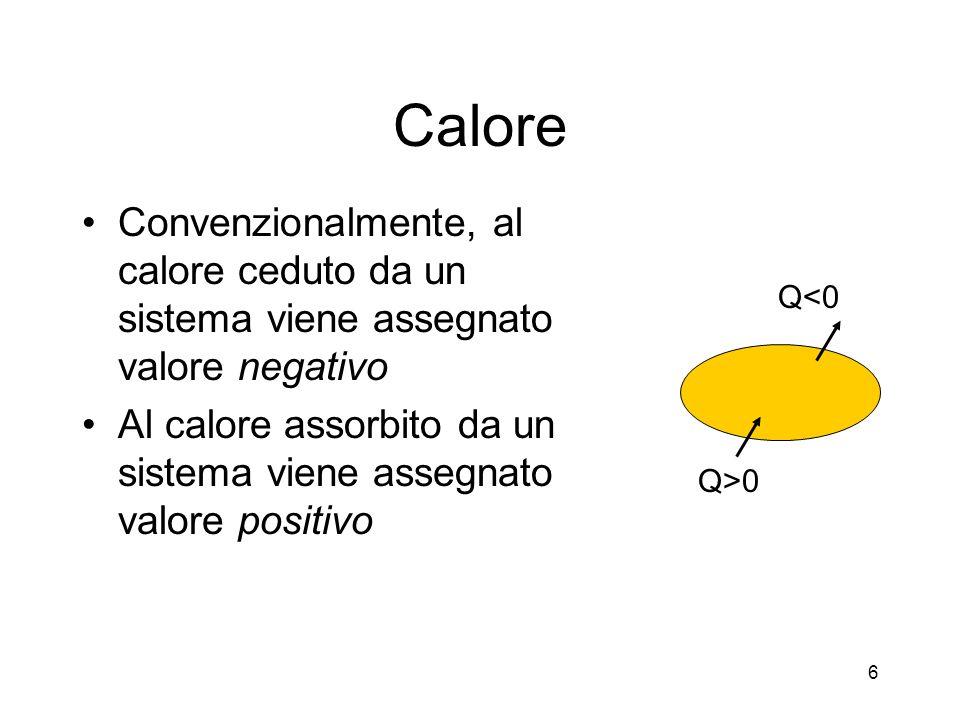 Calore Convenzionalmente, al calore ceduto da un sistema viene assegnato valore negativo.