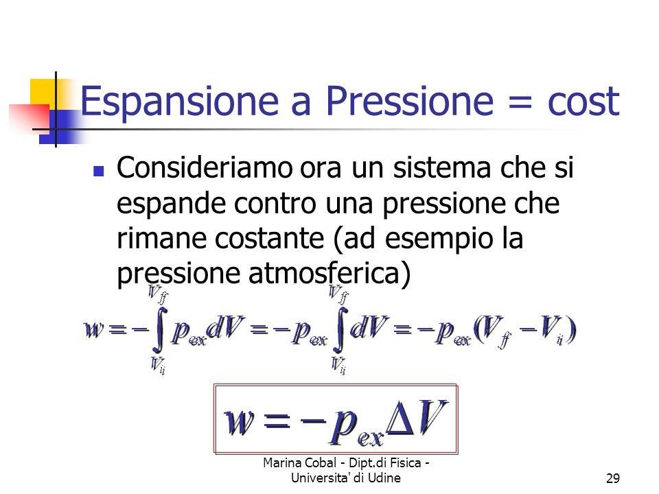 Espansione a Pressione = cost